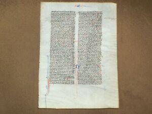 RARE 13th Century Vellum Medieval Manuscript Bible Leaf, c.1260