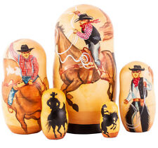 "Texas Cowboy Nesting Doll. Remington Bronco Buster Broncho Horse 7"" Russian Doll"