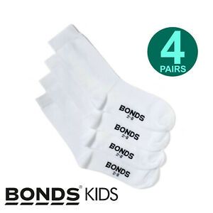 Bonds 4 Pairs Kids Boys Girls School Oxford Crew Soft Cotton Rich White Socks