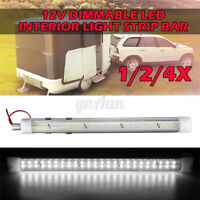 48 LED Dimmable Interior Light Strip Bar Car Van Bus Caravan ON/OFF Switch 12V