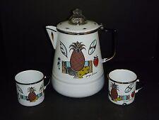 Vtg Mid Century Georges Briard Enamel Coffee Pot & 2 Cups Mugs Ambrosia Design