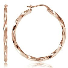 Rose Gold tone over Sterling Silver 2mm Twist Round Hoop Earrings, 60mm
