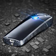 Curved Lighter Electric Charging Windproof Cigar Single Arc USB Plasma Black
