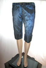 Dolce Ribelle Womens Tailored Formal Shiny Striped Office Crop Pants sz L AF26