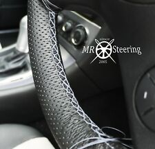 FOR RENAULT MASTER 97+ PERFORATED LEATHER STEERING WHEEL COVER GREY DOUBLE STICH
