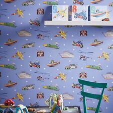 Zoom Away Vehículos Papel Tapiz azul - Arthouse 696203 - Coches Aviones Trenes