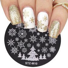 Arte de uñas imagen Planchas para Estampar placa DECORACION NAVIDAD Copos de Nieve árbol stzm 10