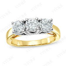 3.00ct Three Stone Anniversary Engagement Wedding Ring in 14K Two-Tone Gold