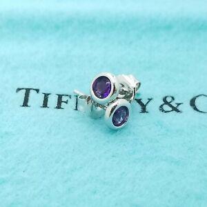 Tiffany & Co. Sterling Silver Elsa Peretti Color By The Yard Amethyst Earrings