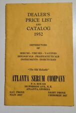 Vintage Atlanta Serum Company Dealers Price List and Catalog 1952