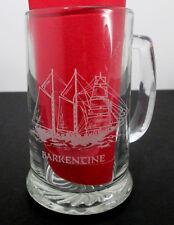 Barkentine Etched Glass Beer Mug Long John Silvers 14 oz Vtg Stein Ship Nautical