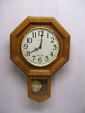 Vintage BULOVA Wall Clock Schoolhouse Oak Wood Brass Pendulum 1990s Quartz