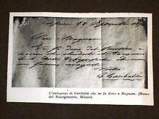 Autografo di Giuseppe Garibaldi donato a Magnani