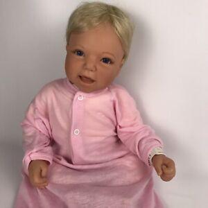 "Lee Middleton by Reva Schick BABY GIRL DOLL 20"" Blonde/Blue Eyes Signed 1997"