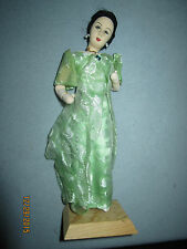 "Vintage 9"" elegant doll on wood stand, green lace dress, fabric face & body"