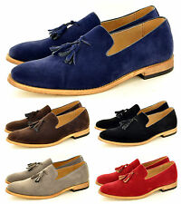 Mens Leather Lined Slip On Suede Loafers Driving Shoes Tassel Design UK Siz 6-11
