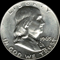 "A 1963 D Franklin Half Dollar 90% SILVER US Mint ""About Uncirculated"""
