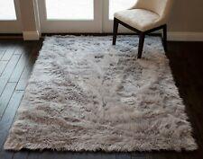 Sheepskin Soft Area Rug Silver Light Grey Light Gray Color 6'x9' Feet Carpet