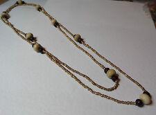 VETRO Lungo Oro Semi Perline Flapper Collana con LEGNO Marrone e Crema Osso Perline 48
