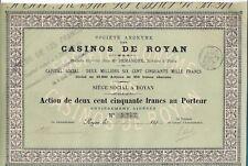 Société des CASINO de ROYAN action de 250 Frs 1898