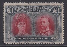 Rhodesia BSAC 1910-13 £1 carmine-red & bluish-black sg165 used