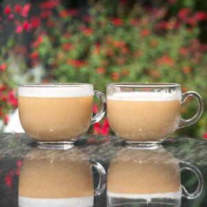 4 x 400ml Large Glass Coffee Mugs Tea Cups Latte Hot Drinks Glasses Cappuccino