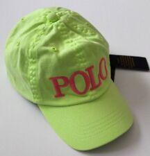 Ralph Lauren Girls Chino Adjustable Ball Cap Hat Neon Green  Size 2T-4T NWT