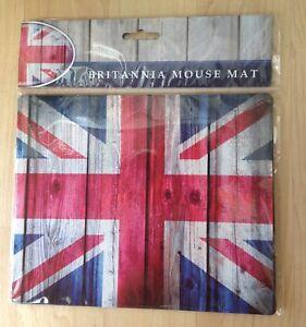 Britannia Union Jack Mouse Mat Wood Effect Vintage Computer PC Gift BNIP