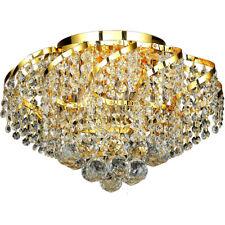 "CRYSTAL FLUSH MOUNT CEILING LIGHTING FIXTURE BEDROOM HALLWAY GOLD 6 LIGHT 16"""