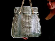 """EXQUISITE KATE SPADE """"COLLECT"""" RARE KYLIE RIO SNAKESKIN POSH TOTE WASHED GREEN"""