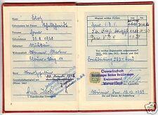 Mitgliedsbuch des FDGB, mit Beitragsmarken, 1955 - 1960, Kreisvorstand Weimar