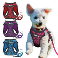 Mesh Small Dog Harness Lead set Reflective Step in Cat Walking Control Vest XS
