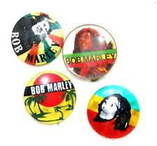 "Vintage 1980s group of 4 Bob Marley 1"" pin badges reggae music"
