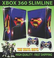 XBOX 360 SLIM STICKER SUPERMAN LOGO LENS FLAIR SKIN & 2 PAD SKINS