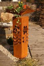 Säule Rose Edelrost Rost 3D Garten Metall Design Skulptur Dekoration Blume