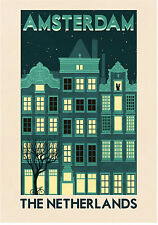 amsterdam holland vintage A0  art poster print for glass frame