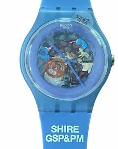 Swatch New Gent SUON102 Blue Grey Lacquered Silicone Shire Pharmaceutical GSP&PM