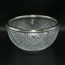 Faberge Crystal Waffle Bowl with Sterling Silver Rim