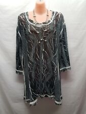 ALQUEMA GREY WHITE CRINKLE SMART CASUAL/PARTY TOP SIZE 2