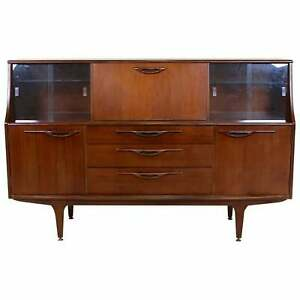 Vintage Teak Cocktail Sideboard Glazed Credenza Cabinet Retro