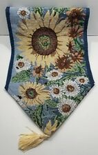 """Rustic Sunflower Tapestry Table Runner on Blue Background Tassles 56"""" x 12 1/2"""""""