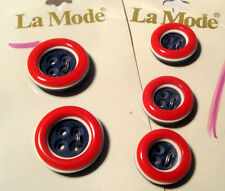 SET 5 RED WHITE BLUE Buttons ITALY ~ Orig La Mode Cards Mother Daughter M/D Lot