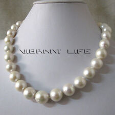 "18"" 12-14mm White AA+ kasumi Freshwater Pearl Necklace U"