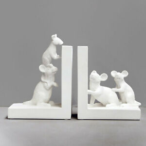 White Mouse Bookends - White Moose Designs - Resin Mice Book Ends