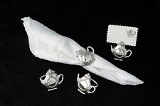 Antique Style Silver Plate Teapot Napkin Ring & Place Card Holders box Set of 4