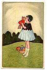 AK  Kinder Künstler, Mädchen Puppe Wiese, Kleinformat