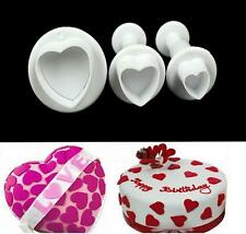 3Heart Cake Decorating Sugarcraft Tool Mould Plunger Cutter Valentines Fondant