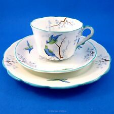 Blue Birds Ye Olde English Grosvenor Cup, Saucer Trio