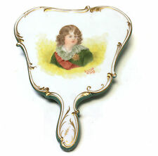 Wall Pocket Hand Painted Porclein Portrait Boy Gold Accent Dated 1897 Signed