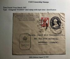 1943 Bombay India Civil Censorship Stationery Cover To Montreal Canada